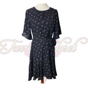 Bobeau Black Floral Mini Pullover Dress Sz M